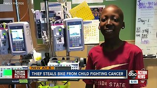 Family searching for stolen bike that belongs to 13-year-old battling cancer
