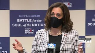 Kamala Harris touches on pandemic, health care