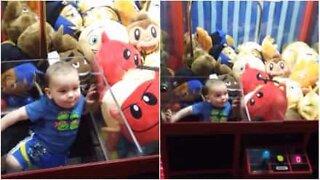 Bebé invade máquina de peluches