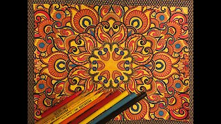 FLOWER MANDALA PATTERN   Coloring book for adults   Coloring TimeLapse Video