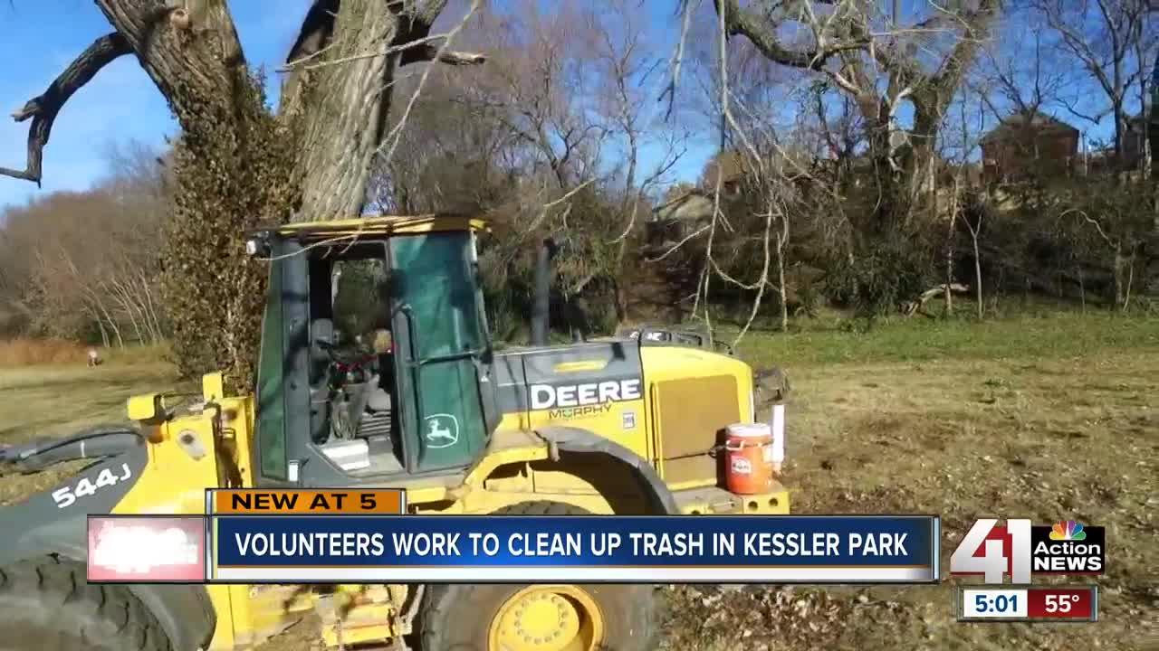 Volunteers clean up trash in Kessler Park
