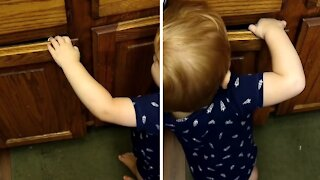 Toddler bypasses child lock to get to the candy