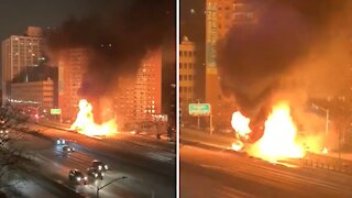 Massive accident, fire and explosion near Rego Park, Queens