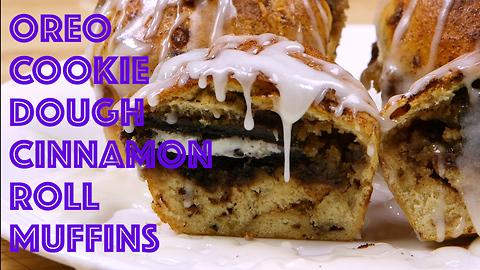 Oreo cookie dough cinnamon roll muffins