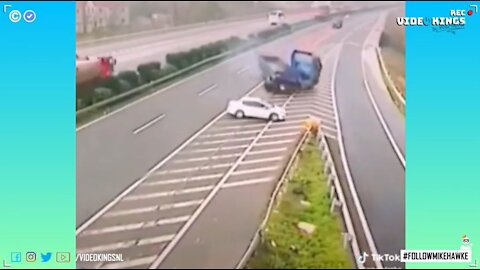 Multi-vehicle collision on highway after driver shifts into reverse because he missed his exit.