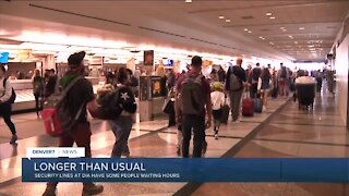 Long lines for security at Denver International Airport