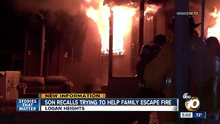 Son recalls trying to help family escape fire