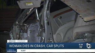 Woman dies in car crash, car splits in half after hitting tree