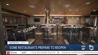 Some San Diego County restaurants prepare to reopen