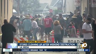 Stores cleaning up after weekend destruction