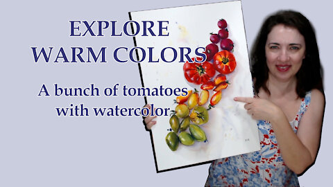 Learn to paint watercolor: easy tomatoes with warm colors