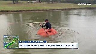 Farmer turns huge pumpkin into boat