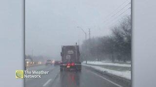 Driving through wet snow flurries