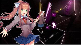 Monika Plays EXPERT Full Charge Beat Saber!