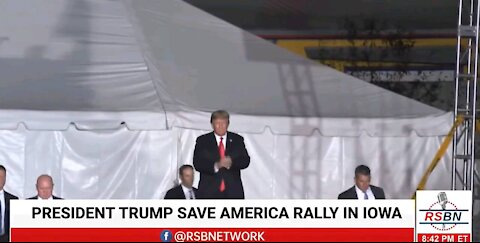 """Donald Trumps takes the stage at the Des Moines:""""Save America"""" rally in Des Moines, Iowa"""
