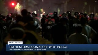 Protestors square off with Phoenix police after peaceful vigil for slain father