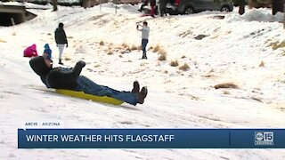 Winter weather hits Flagstaff as many travel to see snow