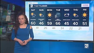 Dry and chilly with rain Saturday afternoon
