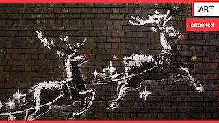 Outrage after new Banksy Christmas graffiti is defaced