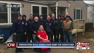 Firefighters build wheelchair ramp for dispatcher
