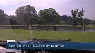 Painesville police officers rescue missing 4-year-old boy after he's found floating in pond