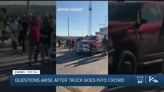 Questions arise after truck goes into crowd