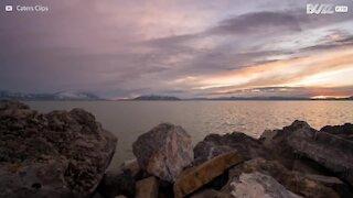 TImelapse: Impressionante pôr-do-sol sobre no Utah