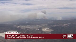 How will $100M in wildfire relief funds be allocated?