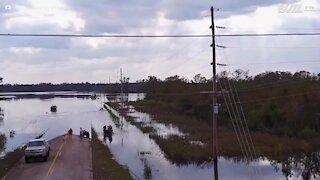 Paesaggio distrutto da un uragano negli USA