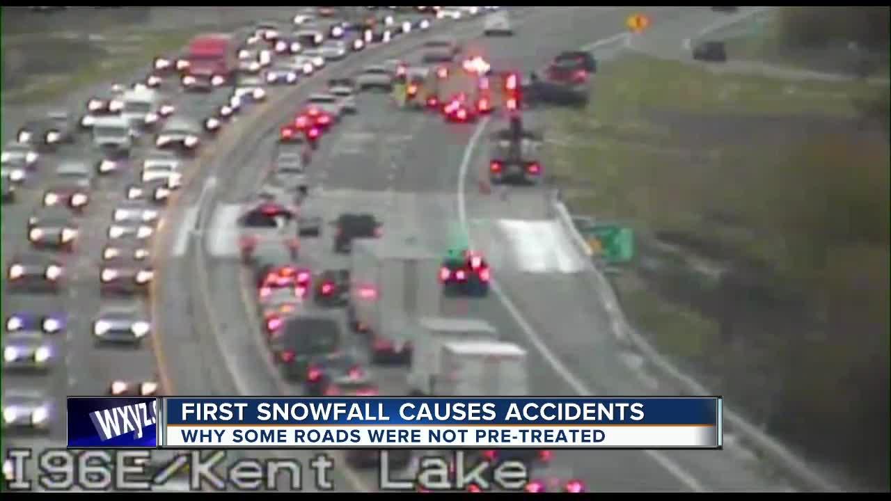 Snow causes problems on roads across metro Detroit
