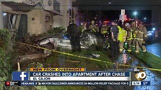Car that led chase crashes into El Cajon apartment building