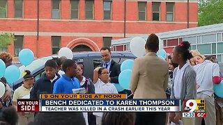 Taft Elementary dedicates bench to teacher killed in crash