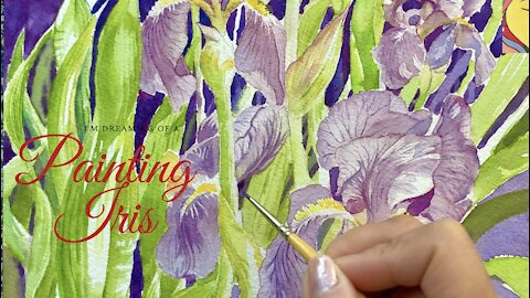 Iris Lily in Watercolor Painting - How to paint Iris Lily. Flower painting in watercolor.