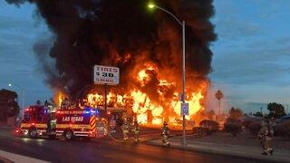 Las Vegas firefighters battle 2-alarm fire at tire shop near Meadows Mall