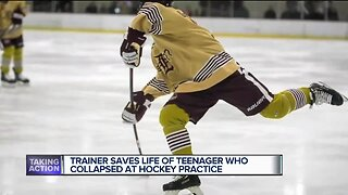 Trainer saves life of teenage hockey player who collapsed at practice