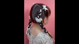 white beautiful butterfly Hair rope