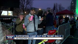 Trump supporters wait in line overnight ahead of campaign rally