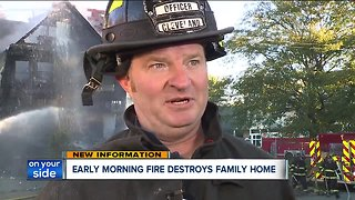 Crews battle house fire in Cleveland