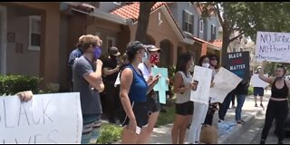 Protesters gather outside FL home of former MN officer charged with murder