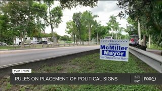 Campaign signs break right of way law
