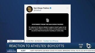 Reaction to athletes' boycotts