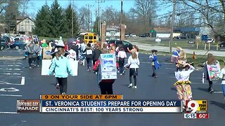 St. Veronica students prepare for Reds Opening Day Parade