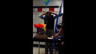 Students give their teacher a special birthday surprise