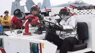 Sailors participate in Flight Deck Crash and Salvage Drills