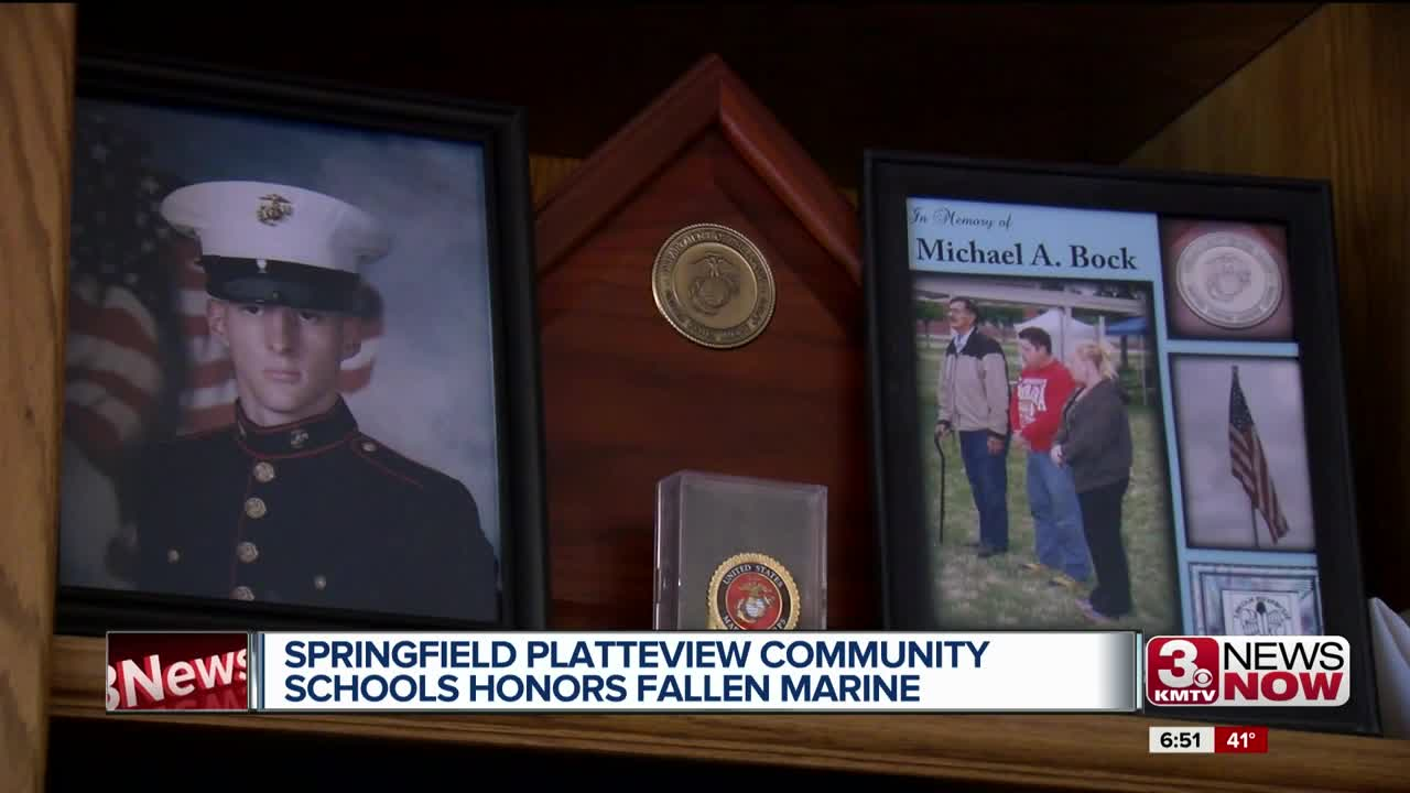 Springfield Platteview Community Schools honors fallen marine