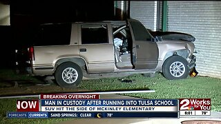 Man in custody after running into school