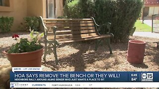 Neighbors rally for senior who just wants somewhere to sit