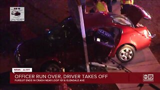 Officer run over, driver takes off