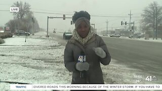 Rae Daniel checks out road conditions in Lees Summit