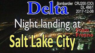 Night landing of Bombardier CRJ200(OO) at SLC Delta #DL4661